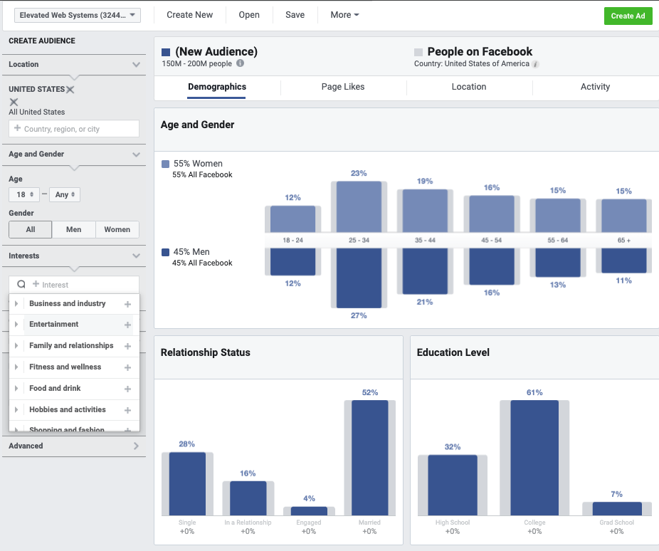 screenshot of facebook audience insights tool